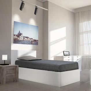 Lit coffre MADRID 90x190 + 1 sommier / Blanc