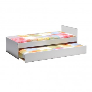 Lit gigogne PODIUM 90x190 avec tête de lit + 2 sommiers + 1 tiroir-lit / Blanc