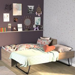 Lit gigogne SUN 90x190 + 2 sommiers + 1 tiroir-lit / Chêne Blanchi