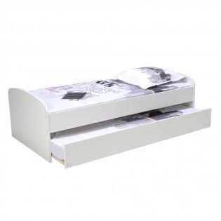 Lit gigogne SWING 90x190 + 2 sommiers + 1 tiroir-lit + 2 matelas mémoire de forme / Blanc
