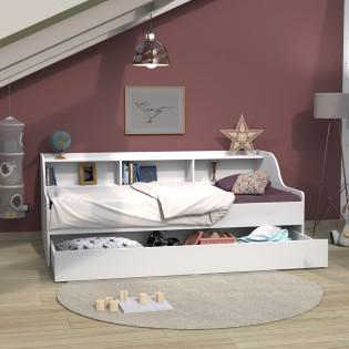 Lit PALMA 90x190 + étagère + 1 tiroir-lit / Blanc