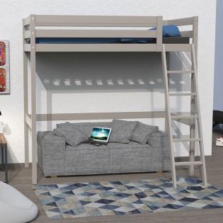 Lit mezzanine STUDIO 90x190 + 1 sommier / Gris Taupe