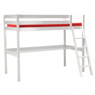 Lit mezzanine ASPEN 90x190 + 1 sommier + bureau / Blanc