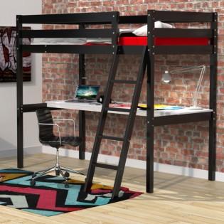 Lit mezzanine ASPEN 90x190+ 1 sommier + bureau / Noir