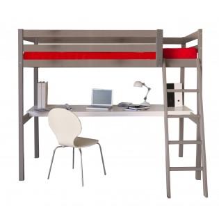 Lit mezzanine ASPEN 90x190 + 1 sommier + bureau / Gris