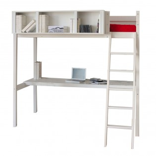 Lit mezzanine LOU 90x190 + 1 sommier + bureau + rangement 3 niches / Blanchi