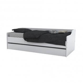 Lit gigogne SWEET 90x190 + 2 sommiers + 1 tiroir-lit / Blanc