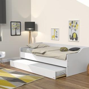Lit gigogne SWEET 90x200 + 2 sommiers + 1 tiroir-lit/ Blanc