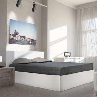 Lit coffre MADRID 140x200 + 1 sommier / Blanc