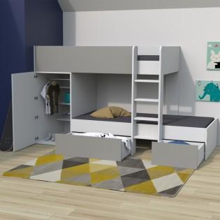 Lit superposé TWIN 90x190 avec armoire et tiroirs + 2 sommiers / Blanc et Gris