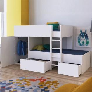 Lit superposé TWIN 90x190 avec armoire et tiroirs + 2 sommiers / Blanc