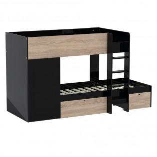 Lit superposé TWIN 90x190 avec armoire et tiroirs + 2 sommiers / Noir et Chêne blanchi