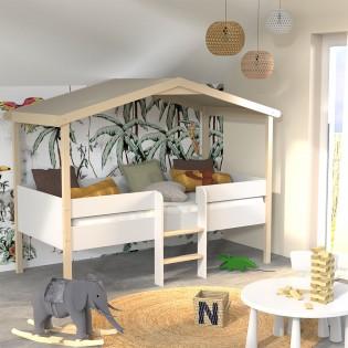 Lit cabane PILOTI 90x190 + 1sommier / Blanc et naturel