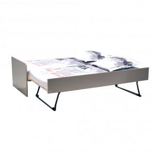 Lit gigogne FLORENT 90x190 + 2 sommiers + 1 tiroir-lit / Gris