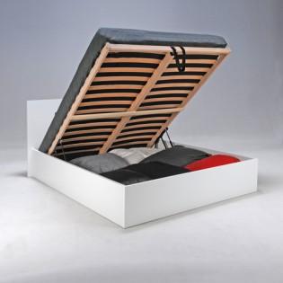 Lit coffre MADRID 140x200 + 1 sommier + 1 matelas mémoire de forme / Blanc