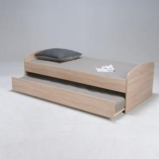 Lit gigogne SWING 90x190 + 2 sommiers + 1 tiroir-lit + 2 matelas mémoire de forme / Chêne Blanchi