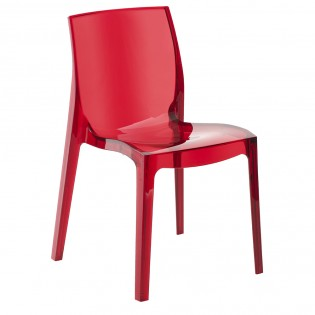 Chaise JEWEL empilable / Rouge Transparent