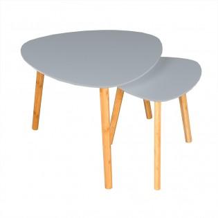 Lot de 2 tables basses gigognes ONYX / Gris