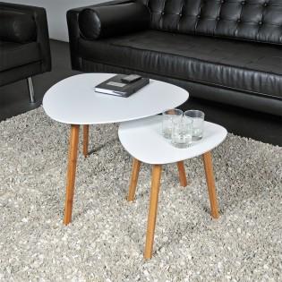 Lot de 2 tables basses gigognes ONYX / Blanc