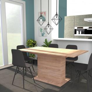 Table CARLA 1 rallonge / Chêne Blanchi