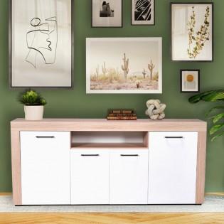 Bahut LIDO 4 portes / Blanc & chêne blanchi