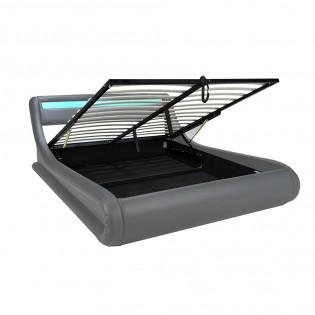 Lit coffre SURF 140x190 LEDS intégrées + 1 sommier / Gris
