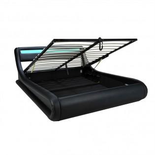 Lit coffre SURF 160x200 LEDS intégrées + 1 sommier / Noir