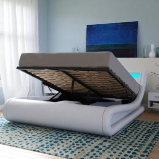Lit coffre SURF 140x190 LEDS intégrées + 1 sommier / Blanc