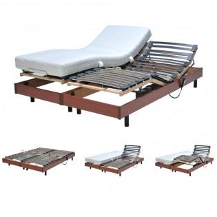 Ensemble 2 sommiers relaxation électrique FLEXPUR 80x200 / Merisier
