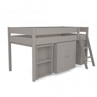 Lit combiné TINO 90x190 + 1 sommier + bureau + armoirette + étagère / Taupe