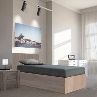 Lit coffre MADRID 90x190 + 1 sommier / Chêne Blanchi