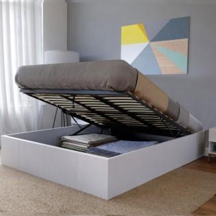 Lit coffre TORINO 160x200 + 1 sommier / Blanc