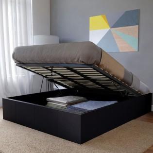 Lit coffre TORINO 160x200 + 1 sommier / Noir