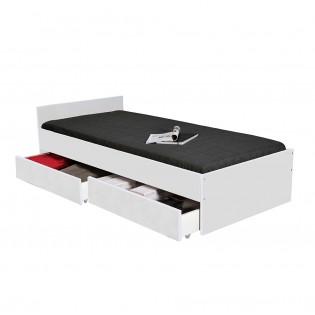 Lit KAPPA 90x190 + 2 tiroirs / Blanc