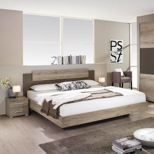 Lit MONZA 140x190cm + tête de lit + 2 chevets + sommier Nevada / Gris et chêne blanchi