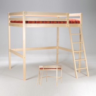 Lit mezzanine STUDIO 90x190 + 1 sommier / Naturel