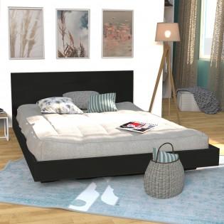 Lit LOFT 140x190 + 1 sommier + tête de lit / Noir