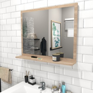 Miroir 80x65cm + tablette / Chêne blanchi