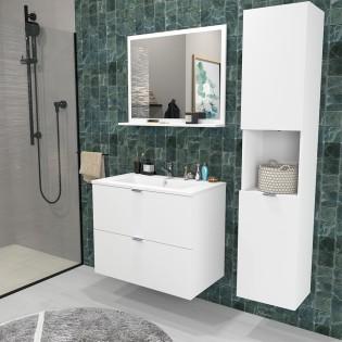Ensemble meuble sous-vasque 80 cm - 2 tiroirs + vasque + miroir + colonne MALAGA / Blanc