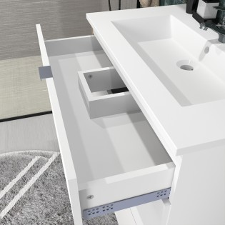 Ensemble meuble sous-vasque 80 cm - 3 tiroirs + vasque + miroir + colonne MARBELLA / Blanc
