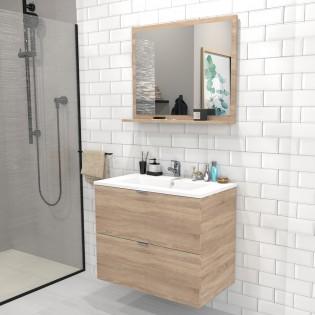 Ensemble meuble sous-vasque 80 cm - 2 tiroirs + vasque + miroir MALAGA / Chêne blanchi