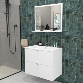 Ensemble meuble sous-vasque 80 cm - 2 tiroirs + vasque + miroir MALAGA / Blanc