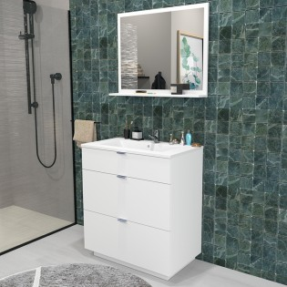 Ensemble meuble sous-vasque 80 cm - 3 tiroirs + vasque + miroir MARBELLA / Blanc