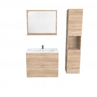 Ensemble meuble sous-vasque 80 cm - 2 tiroirs + vasque + miroir + colonne MALAGA / Chêne blanchi