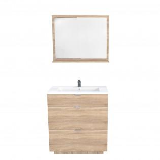 Ensemble meuble sous-vasque 80 cm - 3 tiroirs tiroirs + vasque + miroir MARBELLA/ Chêne blanchi
