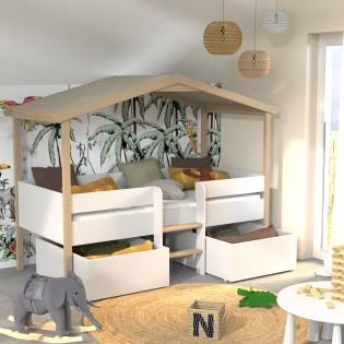 Lit cabane PILOTI 90x190 + 2 tiroirs + 1sommier / Blanc et naturel
