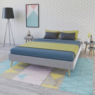 Lit BOREA 140x190 tissu + 1 sommier / Gris Clair