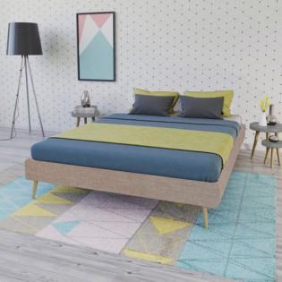 Lit BOREA 160x200 tissu + 1 sommier / Beige
