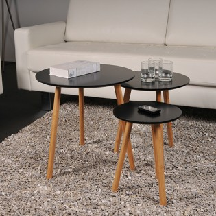Lot de 3 tables basses gigognes VENUS / Noir