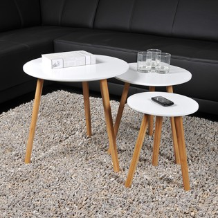 Lot de 3 tables basses gigognes VENUS / Blanc